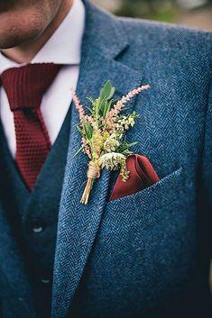 groom's attire- autumn boutonnieres fall wedding inspiration