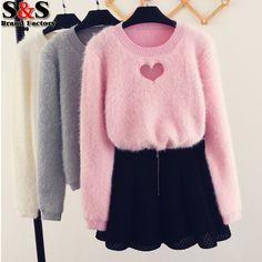27.78 Aliexpress pink fluffy heart cut out sweater 2017 Korean ...