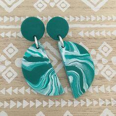 Dangle Janes - Emerald Green + White - Polymer clay dangle/drop stud earrings