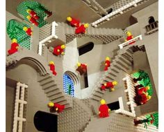 Escher in lego.  The other dollhouses are rad, too.  I love the shipping container with the tiny Eames lounger.