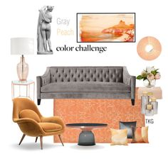 """Gray & Peach"" by kgdesigns ❤ liked on Polyvore featuring interior, interiors, interior design, home, home decor, interior decorating, AERIN, Pillow Decor, Dot & Bo and Parvez Taj"