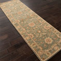 Hand-tufted Green/ Brown Wool Rug (2'6 x 8')
