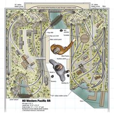 Download this track plan from Model Railroader and 102 Realistic Track Plans Ho Scale Train Layout, Ho Train Layouts, N Scale Layouts, Ho Scale Trains, Ho Model Trains, Ho Trains, Ho Train Track, Escala Ho, Model Railway Track Plans