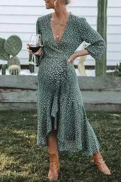 US$ 35.99 - Maternity V Neck Long Sleeve Printed Color Dress - www.mamipop.com Fall Dresses, Elegant Dresses, Casual Dresses, Long Dresses, Casual Outfits, Boho Midi Dress, Shower Dresses, Daily Dress, Vintage Stil