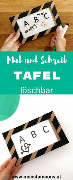 Malboard basteln, Schreibboard basteln, Tafel basteln, Basteln mit Karton, DIY Tafel, Basteln für dei Schule