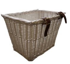 Small Wicker Bike Basket - white