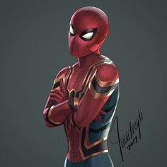 "(@illustreyts) on Instagram: ""IRON SPIDER Digital painting Here's my attempt at recreating the suit revealed at the end of the movie."""