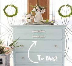 See how Christy from Confessions of a Serial DIYer updated her vintage dresser with Behr Sunken Pool and stripes of Bit of Sugar white.