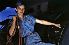 Another great Kodachrome pic from WWII years. A real-life Rosey the Rivetter.  Awesome, confident, expression on her face. One reason my grandparents' generation is called the greatest.