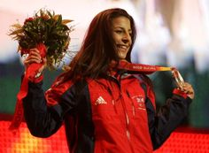 Shelley Rudman of Team GB holds her Silver Medal for Skeleton during the Turin 2006 Winter Olympic Game.