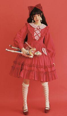 Pure In Heart Long Sleeves Vintage Classic Lolita OP Dress (Long Sleeves Version)