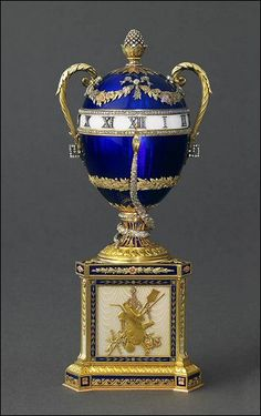 Fabergé: 1895 'Blue Serpent' Clock Imperial Egg. Presented by Alexander III to…