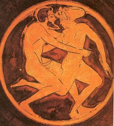 Courtesan and her client. Tondo of a red-figure cup, ca. Ancient Greek Art, Ancient Greece, Greece Art, Greek Pottery, Roman Sculpture, Minoan, Gay Art, Sacred Art, Vases