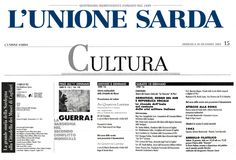 """L'Unione Sarda. 28 dicembre 2003. Pagina della Cultura. """"Guerra! La Sardegna nel secondo conflitto mondiale"""". Mostra storica, Presentazione libro, documentario e animazioni multimediali, Convegno."""