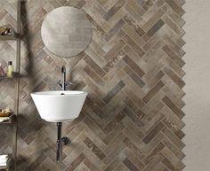 Плитка под кирпич для оформления ванной комнаты в стиле LOFT