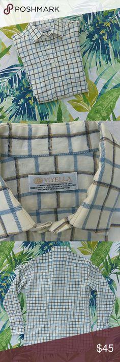 "VIYELLA | White Blue Brown Plaid Long Sleeve Small Chest 20.5"", length 29"", sleeve 23"". Lightly worn. No flaws. Viyella Shirts Casual Button Down Shirts"