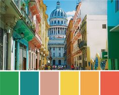 A bright, tropical color palette inspired by the streets and buildings of Havana, Cuba. Click through to see more spaces inspired by the formerly forbidden island! #colorpalette #Cuba #Havana