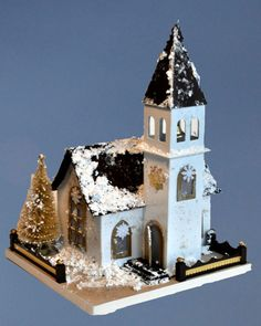 Chapel with Brown Roof by Putzhouse on Etsy, $60.00