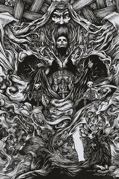 Showcase of brilliant intricate drawings of DZO Olivier. He is a France based graphic designer, a self-taught painter and illustrator who is graduated Line Art, Art Hippie, Satanic Art, Occult Art, Wow Art, Amazing Drawings, Art Graphique, Pencil Art, Tattoo Life
