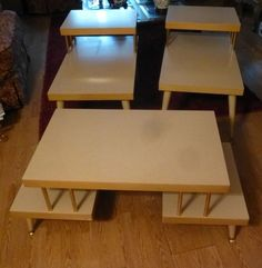 3 Piece Set Of Vintage Retro Blonde 2 Tier Blonde Coffee Table And 2 End  Tables
