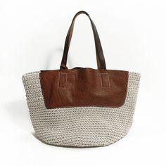 Knitting Genuine Leather Bag