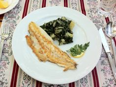 sea bream served with 'blitva' similar to spinach