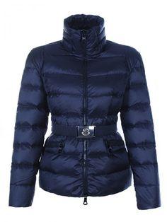 d59fcde47b03 Vendre Pas cher Doudoune moncler femmes zip avec ceinture bleu fonc Coat  Sale, Jackets For