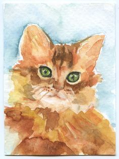 Cat Watercolor Painting ACEO Giclee Print