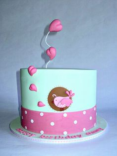 Pink & Brown Birdie and Hearts Polka Dot Cake