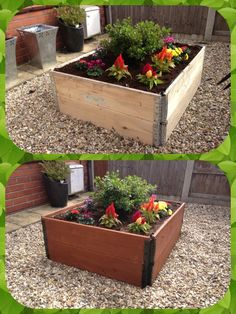 Easy raised flower bed  Before After