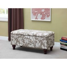 Nailhead Trim Floral Storage Bench | Overstock.com Shopping - The Best Deals on Benches