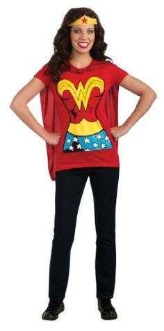 Femme Officiel Wonder Woman Costume Super-héro T-Shirt avec Cape Red DC Comics