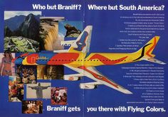 Flying Colors Ad for Braniff International featuring the DC-8 painted by Alexander Calder. Early 1970's.  In the 1980's, a full-size Calder Original DC-8 model went missing. It was never recovered.