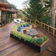 75 inspiring and modern deck design ideas for a relax in the open. outdoor decks design exteriors modern brown wooden deck roof ideas for patio with brown wooden fence as well as deck roof designs and decks design ideas awesome exterior. Outdoor Spaces, Outdoor Living, Outdoor Decor, Outdoor Couch, Built In Seating, Deck Seating, Garden Seating, Outdoor Seating, Backyard Seating