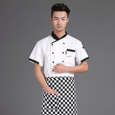Free Shipping Cook suit short-sleeve chef uniform checkedout chef jacket cheapest chef shirt restaurant tops hotel uniform Chef Clothing, Chef Shirts, Hotel Uniform, Top Hotels, Chef Jackets, Polo Ralph Lauren, Trousers, Short Sleeve Dresses, Restaurant