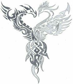 dragon vs phoenix tribal by on DeviantArt- dragon vs phoenix tri… – Phoenix tattoo Tribal Tattoo Designs, Tribal Phoenix Tattoo, Tribal Dragon Tattoos, Tribal Drawings, Celtic Dragon Tattoos, Phoenix Bird Tattoos, Phoenix Tattoo Design, Tattoos Skull, Dragon Tattoo Designs
