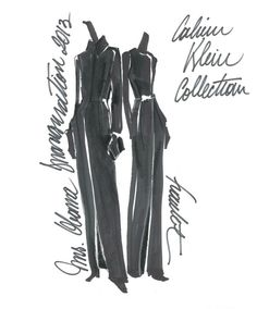 Szkice znanych projektantów: Calvin Klein  Więcej na ModaCafe!