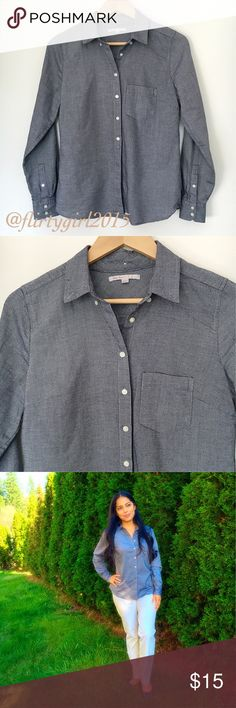 """Gap Oxford Button Down EUC!! Boyfriend fit button down. 100% cotton and super soft to the touch. Single pocket on left breast. Double buttoned cuffs. 26"""" in length, 24.5"""" sleeve. Grayish-blue in color... (Ralph Lauren pants also listed, NWT size 2P) GAP Tops Button Down Shirts"""