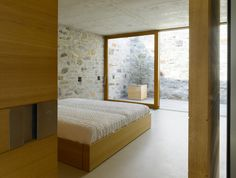 Brione House by Swiss architects Wespi de Meuron. I always like bedrooms looking out to a small courtyard. Also beautiful masonry.