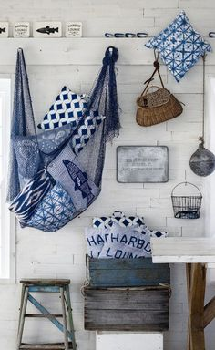 Give your home the beach house look with a few tasteful nautical decor pieces. Browse seaside charity shops, markets and vintage fairs for a bargain. Decor, Beach House Decor, Coastal Style, Furnishings, Blue Decor, Nautical Home, Interior, Home Decor, Coastal Decor
