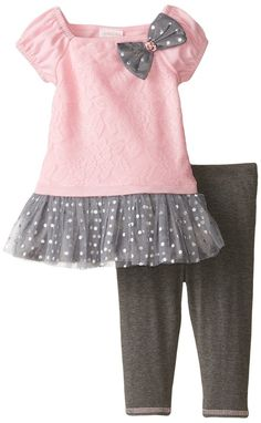 Youngland Baby Girls' Pink Floral To Grey Dot Legging Set, Pink/Grey, 24 Months 2 piece legging setMesh skirt with foiled dots Baby playwear legging set, cap Kids Dress Wear, Little Girl Outfits, Little Girl Dresses, Toddler Dress, Toddler Outfits, Kids Outfits, Baby Frocks Designs, Baby Girl Dress Patterns, Kids Frocks