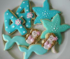 Mermaid cookies for a girls beach party. love