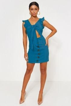 53ab8ea0f78559 New In. Fashion BibleButton Front DressBlue ...