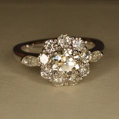 Amazing Art Deco engagement ring on etsy