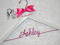 Personalized Bridesmaid High Heel Pump Wedding Hanger, Bridal Party Wedding Dress Hanger, Wedding Party Gift - Wire Name Hanger by WhiteDiamondAffairs on Etsy https://www.etsy.com/listing/151683912/personalized-bridesmaid-high-heel-pump