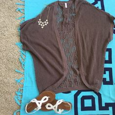 Spring & Summer☀️ Brown Cardigan  Open design brown short sleeve cardigan. Perfect for dressing up those simple summer outfits! Great for festivals or even events.  Worn and washed once, no noticed flaws! I will consider ALL reasonable offers Xhilaration Tops Blouses