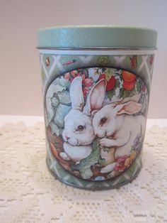 Easter Bunny Vintage Tin Decorative Collectible Spring by vertzvkv, $13.00
