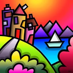 Sailboat colourful fine art print by Amanda Hone Tiffany Kunst, Tiffany Art, Graffiti Art, Cubism Art, Art Abstrait, Stained Glass Art, Art Techniques, Oeuvre D'art, Art Lessons