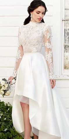 high low lace long sleeve wedding dresses 1