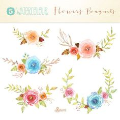 Watercolour Flowers Bouquets: 10 files Digital by OctopusArtis
